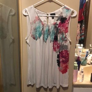 Floral tank with beaded neckline
